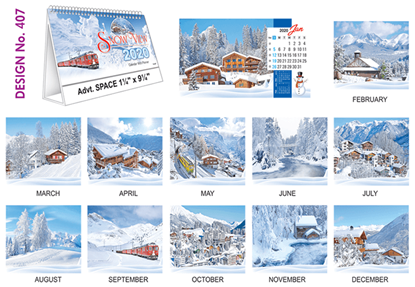 T 407 Snow View   - Table Calendar With Planner Online Printing 2020