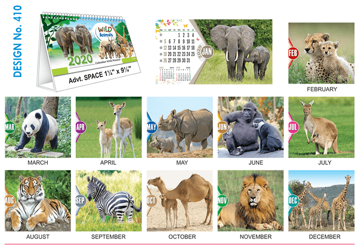 T 410 Wild Animals   - Table Calendar With Planner Online Printing 2020