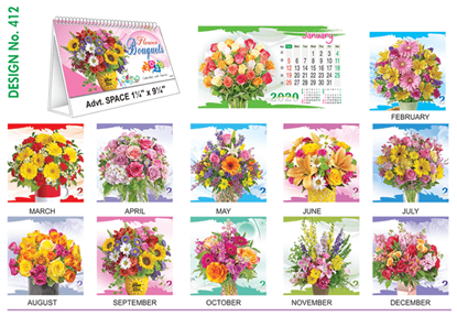 T 412 Flowers  - Table Calendar With Planner Online Printing 2020
