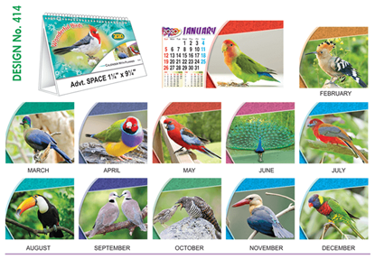 T 414 Wonder full Birds   - Table Calendar With Planner Online Printing 2020