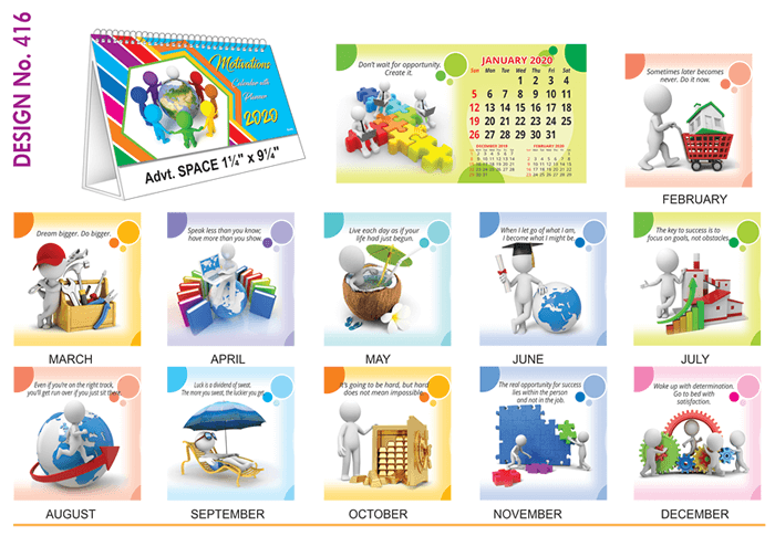 T 416 Motivations  - Table Calendar With Planner Online Printing 2020