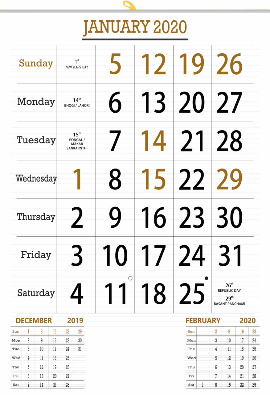 "V827 13x19"" 12 Sheeter Monthly Calendar 2020"