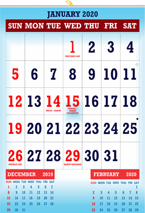 "V831 13x19"" 12 Sheeter Monthly Calendar 2020"