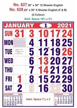 R627 English Monthly Calendar Print 2021