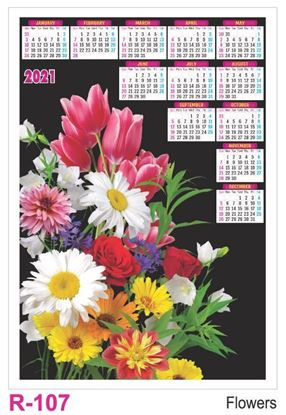 R107 Flowers Plastic Calendar Print 2021