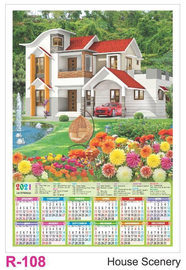 R108 House Scenery Plastic Calendar Print 2021