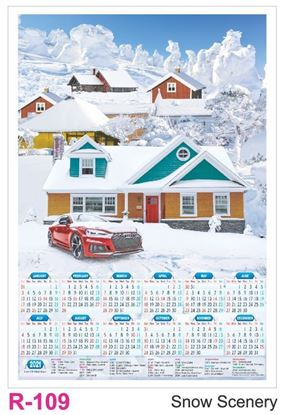 R109 Snow Scenery Plastic Calendar Print 2021