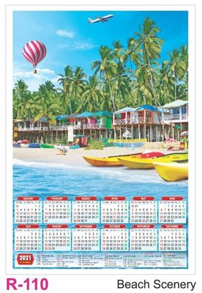 R110 Beach Scenery Plastic Calendar Print 2021