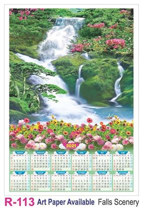 R113 Falls Scenery Plastic Calendar Print 2021