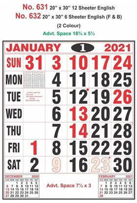 R631 English Monthly Calendar Print 2021