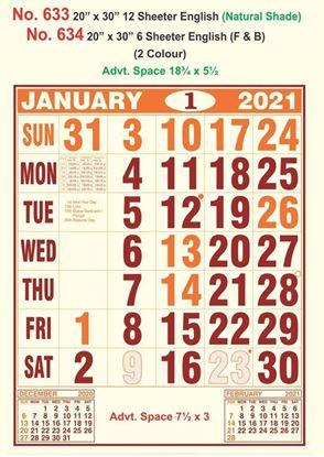 R633 English (Natural Shade)  Monthly Calendar Print 2021