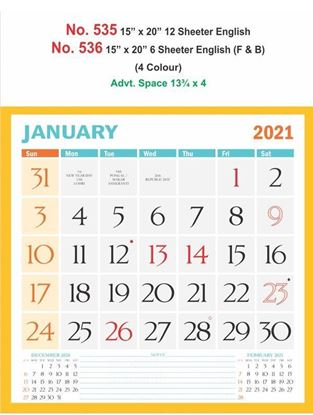 R535 English Monthly Calendar Print 2021