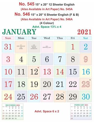 R545 English  Monthly Calendar Print 2021