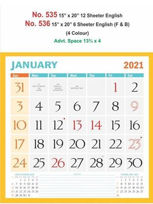 R536 English (F&B) Monthly Calendar Print 2021