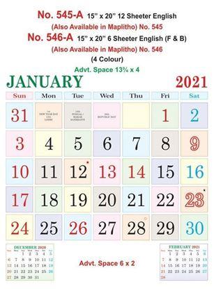 "R546-A 15x20"" 6 Sheeter English (F&B) Monthly Calendar Print 2021"
