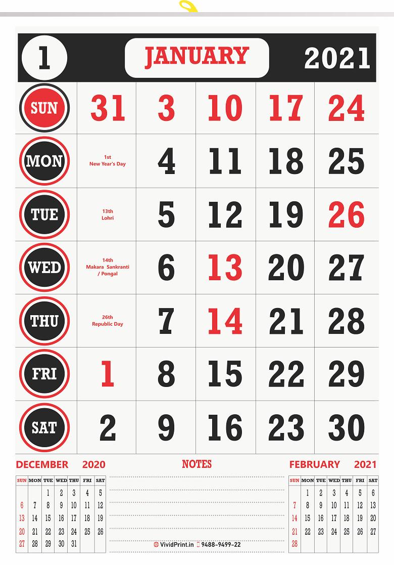 "V825 13x19"" 12 Sheeter Monthly Calendar Printing 2021"