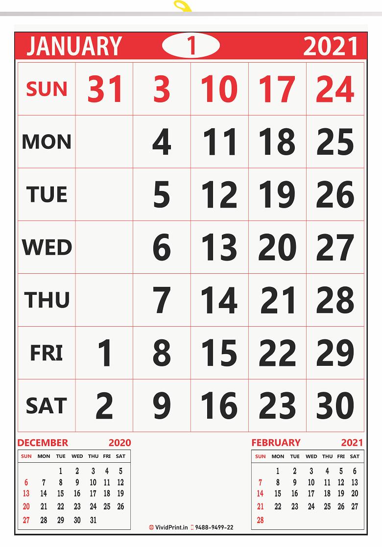 "V837 13x19"" 12 Sheeter Monthly Calendar Printing 2021"