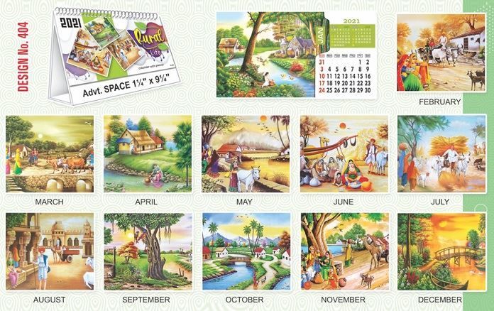 T404 Rural Life - Table Calendar With Planner Print 2021