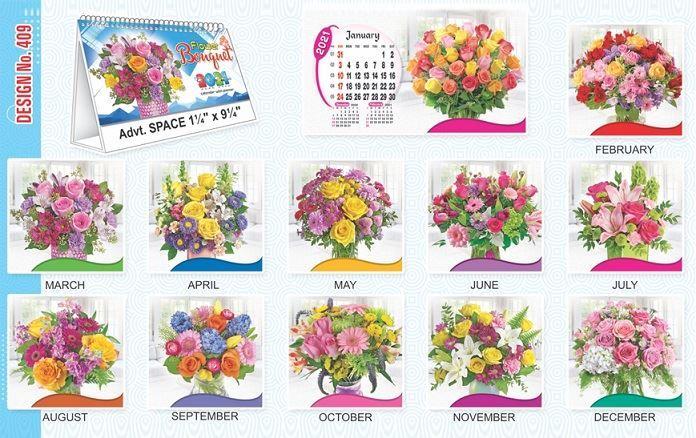 T409 Flower Bouquet - Table Calendar With Planner Print 2021