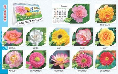 T410 Beautiful Flower - Table Calendar With Planner Print 2021