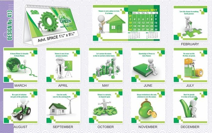 T413 Go Green - Table Calendar With Planner Print 2021
