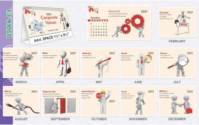 T414 Corporate Values - Table Calendar With Planner Print 2021