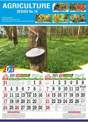 DM10A 14x20 Three Sheeter Monthly Calendar Print 2021
