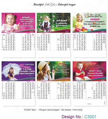 C3001 6 Sheeter Bi-Monthly Tamil Christian Calendars printing 2021