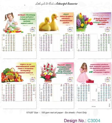 C3004 6 Sheeter Bi-Monthly Tamil Christian Calendars printing 2021