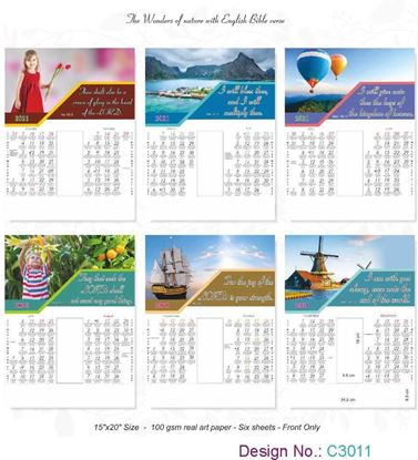 C3011 6 Sheeter Bi-Monthly English Christian Calendars printing 2021