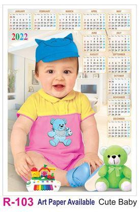 R103 Cute Baby Plastic Calendar Print 2022