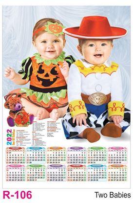 R106 Two Babies Plastic Calendar Print 2022