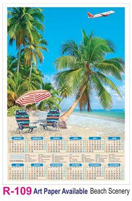 R109 Beach Scenery Plastic Calendar Print 2022
