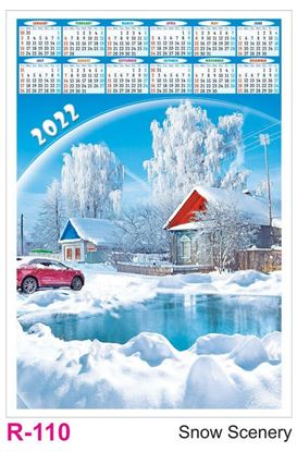 R110 Snow Scenery Plastic Calendar Print 2022