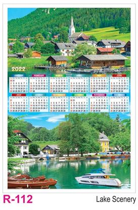 R112 Lake Scenery Plastic Calendar Print 2022