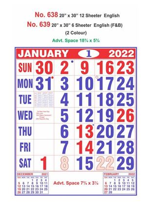 R639 English(F&B) Monthly Calendar Print 2022