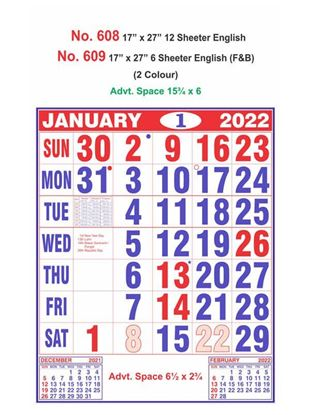 R608 English Monthly Calendar Print 2022