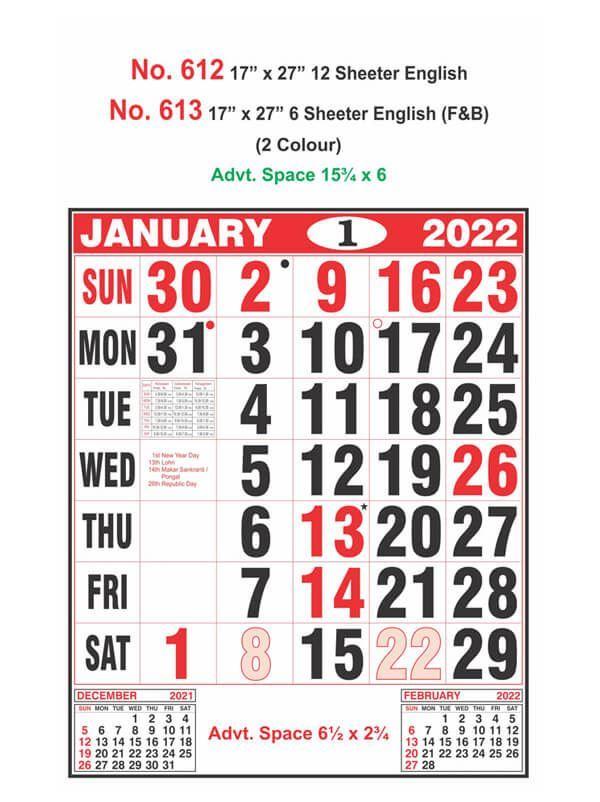 R612 English Monthly Calendar Print 2022