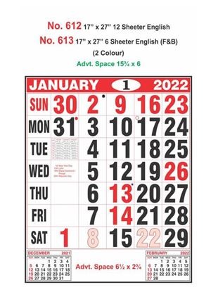 R613 English(F&B) Monthly Calendar Print 2022