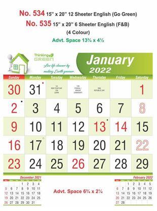 R534 English(Go Green) Monthly Calendar Print 2022