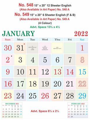 R548 English Monthly Calendar Print 2022