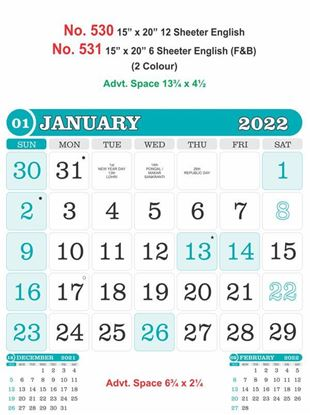 R531 English(F&B) Monthly Calendar Print 2022