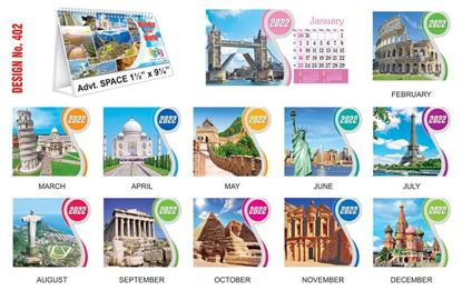 T402 World Wonders - Table Calendar With Planner Print 2022