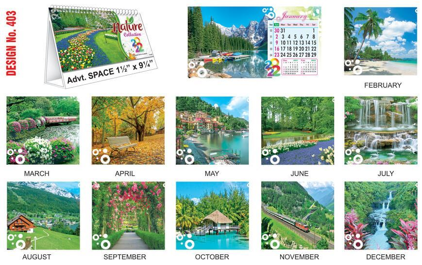 T403 Nature Scenery - Table Calendar With Planner Print 2022