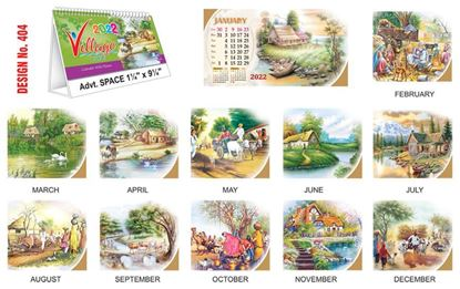 T404 Village - Table Calendar With Planner Print 2022