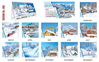 T406 Snow World - Table Calendar With Planner Print 2022