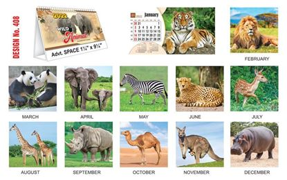T408 Wild Animals - Table Calendar With Planner Print 2022