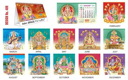 T409 Our Gods - Table Calendar With Planner Print 2022