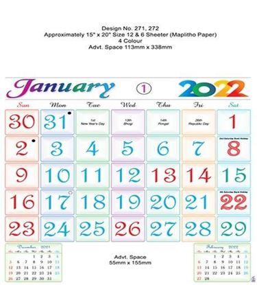 P271 English Monthly Calendar Print 2022