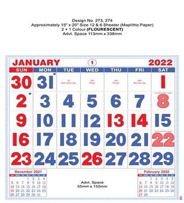 P273 English(Flourscent) Monthly Calendar Print 2022